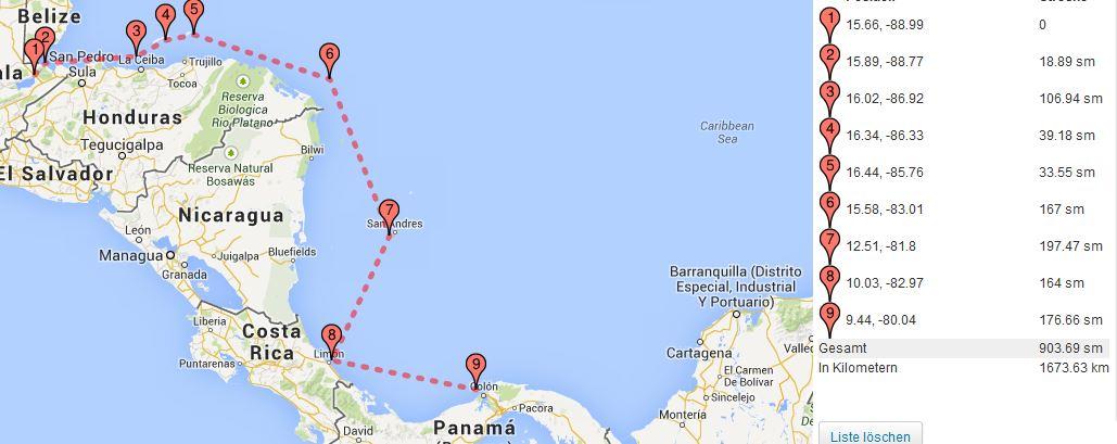 Mittelamerika Route1 Nov.14 – März 15